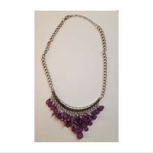 Short Purple & Silver Beaded Cluster Necklace